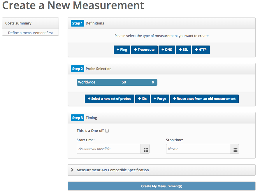 The measurements creation page